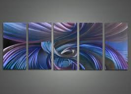 modern abstract blue metal wall art 60x24in on metal paintings wall art with metal wall art fabuart