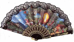 our lady of lourdes hand fan from spain with vatican postcard