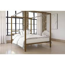 Details about Metal Canopy Bed Frame Queen Size Modern Gold Finish Built-in Headboard