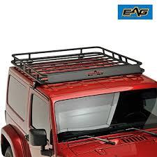 eag black steel roof rack cargo basket for 2007 2018 jeep wrangler jk 2