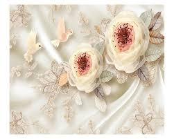 Beibehang Luxe Hoge Kwaliteit Behang Zijde Bloemen Vogel Kant 3d