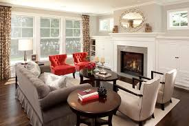 gray walls and red accents living room traditional with red accent