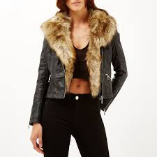 lyst river island black leather look faux fur biker jacket in