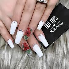 White Rose Nail Design Tapered Square Nails Long Square Nails White Nails Nails