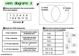 Venn Diagram Gcse Worksheet Probability