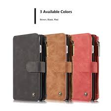 detachable 2 in 1 leather case for iphone 7 8 plus luxury flip card slot zipper
