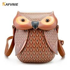 kafvnie new cute owl shoulder bag purse handbags women messenger bags for girls cartoon with cross phone bag owl bag