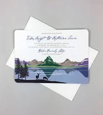 Envelope Wedding Many Glacier Valley Wedding Invitation 5x7 2 Sided Wedding Invitation With A7 Envelope Vintage Landscape Illustration