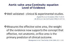aortic valve area continuity equation level of evidence