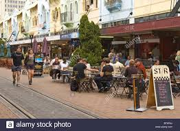 New zealand south island christchurch outdoor cafes stock image