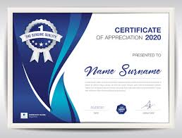 Certificate Template With Blue Abstract Background Vector 03 Free