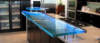 elevated textured glass countertop with embedded led lights photo source signature art glass