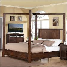 Modern Wooden King Size Canopy Bed Frame With Storage Drawers of ...