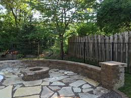 flagstone patio with fire pit. Fire Pit With Flagstone Patio And Seating Walls A