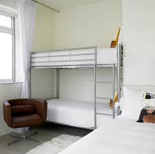 Bedroom:Modern Kids Bedroom Bunk Bed Idea With Metal Ladder And Safety  Guardrail Bunk Bed