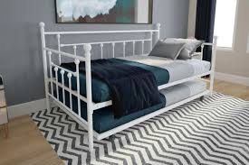 White Metal Daybed Frame Twin Size Bed WITH TRUNDLE Kids Bedroom Furniture Guest