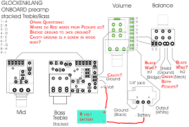 need help wiring glockenklang preamp 3 band 4 knob into music man the music man stingray 5 string hh comes 2 pickups each 3 wires black red green in addition there is what i assume is a cavity ground in the