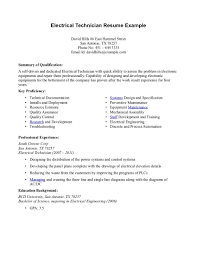 Resume Templatesy Level Engineering Technician Examples Electrical