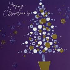 Purple Christmas Card Xmas Card Ammf Golden Baubles On The Tree