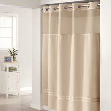 beautiful hookless extra long shower curtain liner plus white wall and wooden floor for bathroom decoration