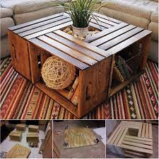 coffee table from recycled wine crates wonderfuldiy