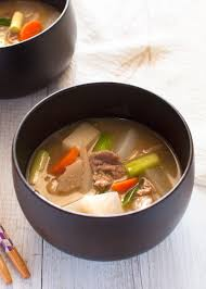tonjiru 豚汁 is a hearty miso soup with pork slices and vegetables packed