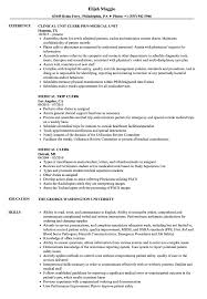 Medical Clerk Resume Sample Medical Clerk Resume Samples Velvet Jobs 1