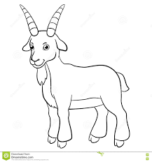 Small Picture Coloring Pages Farm Animals Cute Billy Goat Smiles Stock Vector