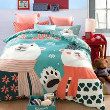 cute polar bear snowflake printing bedding bed linens cartoon cotton queen with duvet quilt cover flat sheet 4 comforter set high quality linen cost china
