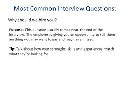 why should we hire you interview question interviewing the dos and donts for job interviews ppt download