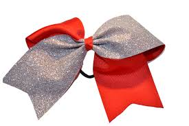 Cheer Bow Designs Red And Silver Sparkle Cheer Bow
