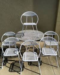 vintage mid century modern patio furniture. Interior Design Ideas, Dazzling Vintage Mid Century Modern Folding Patio  Table 6 Round Chairs Regarding Vintage Mid Century Modern Patio Furniture