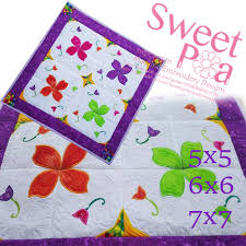 Sweet Pea Embroidery Designs Paisley Fantasy Quilt 5x5 6x6 7x7 Machine Embroidery