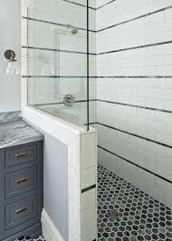 Walk in shower with half wall Burnbox The Spruce 19 Beautiful Showers Without Doors