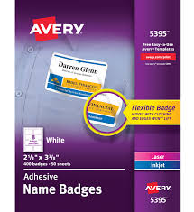 Avery 5395 Adhesive Name Badge Labels Rectangular White Box Of 400