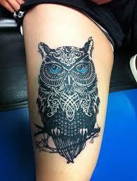 Dvouhlavá Inspirace Tetování S Motivem Sovy Owls Girl Thigh
