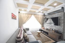 jungle themed living room natural wood frame glazed windows white wall cream fur rug orange stripped carpet flooring