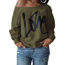 Walmart Time And Tru Size Chart Womens Love Sweatshirt Letter Print Off The Shoulder Slouchy Pullover