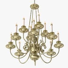 one kings lane 12 arm brass chandelier 3d model max obj 3ds fbx mtl 5