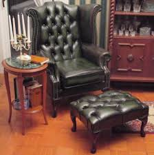 home and furniture chesterfield. Chesterfield Queen Anne High Back Wing Chair Antique Green Leather + Footstool Home And Furniture U