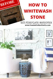 Diy Fireplace Makeover Ideas How To Whitewash Stone Diy Fireplace Makeover Coastal