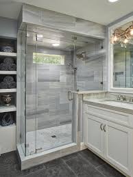 gray bathroom designs. Bathroom With Glass And Marble Shower, Gray Limestone Floors, Quartzite Wood Vanity | HGTV Designs