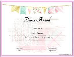 Dance Award Certificate Dance Certificate Templates Free Download Award Template