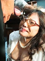 Secretary brunette with glasses facialized