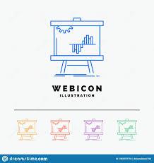 Business Chart Data Graph Stats 5 Color Line Web Icon