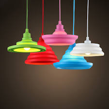 modern colorful silicone pendant lights collapsible folding pendant lamps e27 creativeampfashion decoration lighting cheap modern pendant lighting