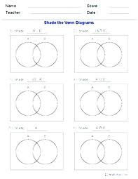 Venn Diagram Math Problems Worksheets On Sets And Venn Diagrams Probability Diagrams