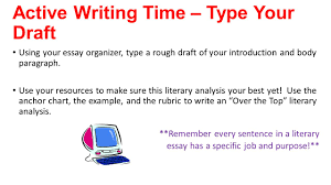 writer s workshop literary analysis session ppt  active writing time type your draft using your essay organizer type a rough draft