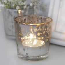 aged glass silver tea light holder