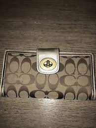 Image is loading Authentic-Coach-Signature-Large-Gold-Wallet-Turnlock-FREE-
